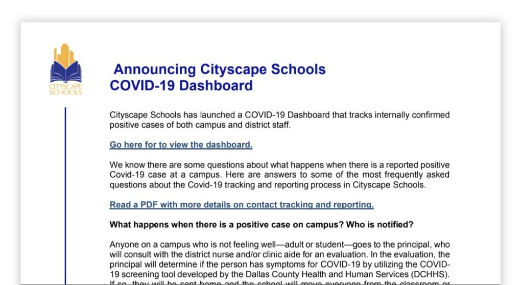 Letter announcing COVID-19 dashboard